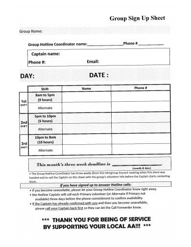 group sign up sheet template