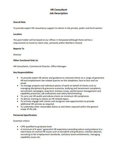 21 Consultant Job Description Templates Pdf Free
