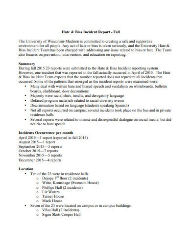 hate and bias incident report fall