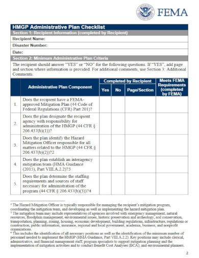 hazard mitigation grant checklist template