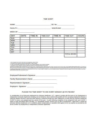 healthcare employee timesheet