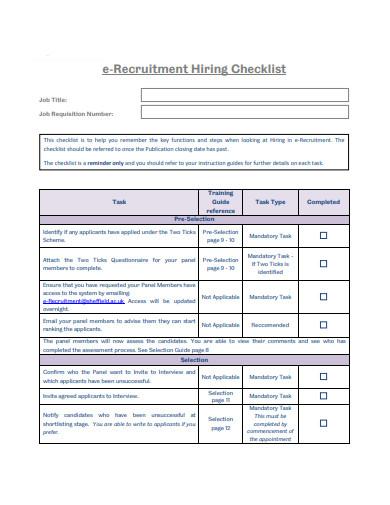 hiring checklist in pdf