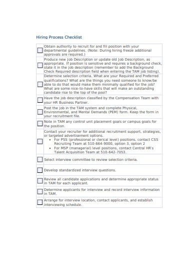 hiring process checklist template