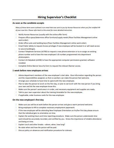 hiring supervisor's checklist