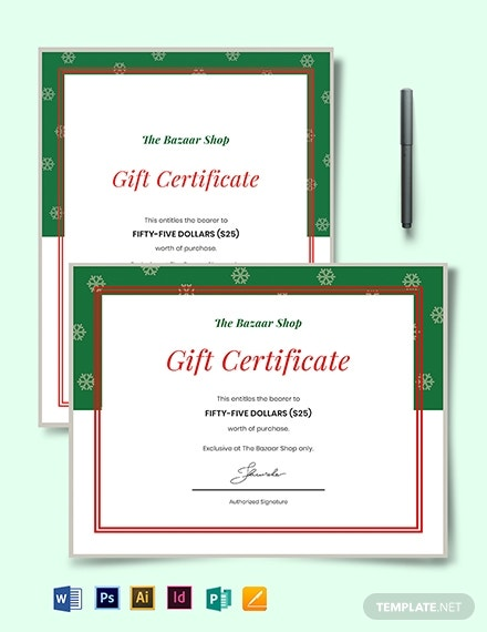 10  holiday gift certificate template