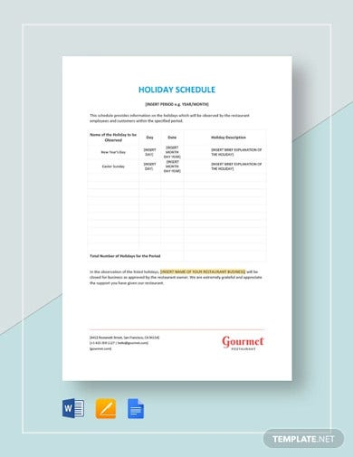 holiday-schedule-template