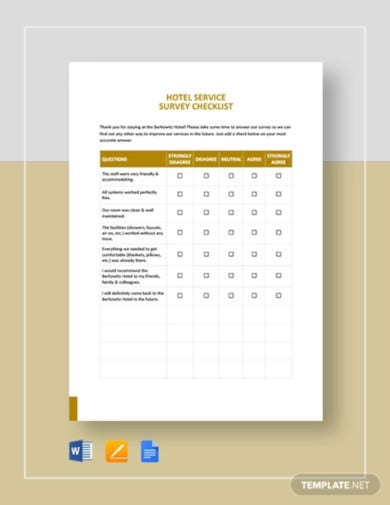 hotel checklist template