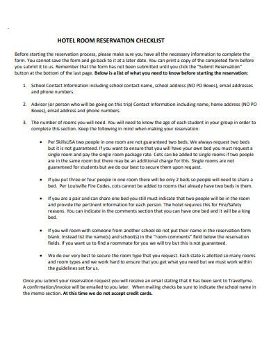 hotel checklist for reservation