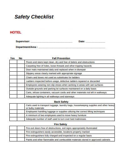 hotel saftey checklist template