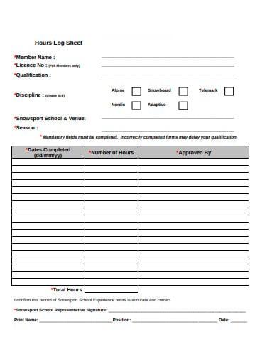 hours log sheet template