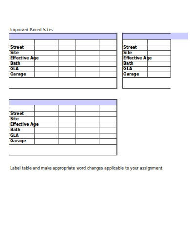 improved paired sales template