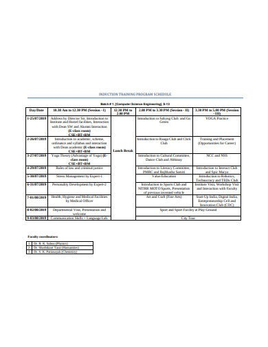 induction training progarm schedule template