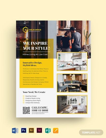 interior design company flyer template