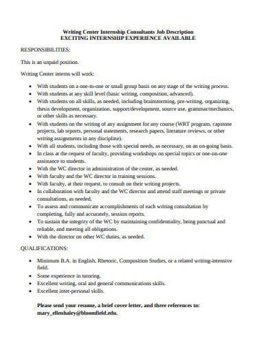 internship consultant job description