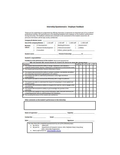 internship questionnaire employer feedback template