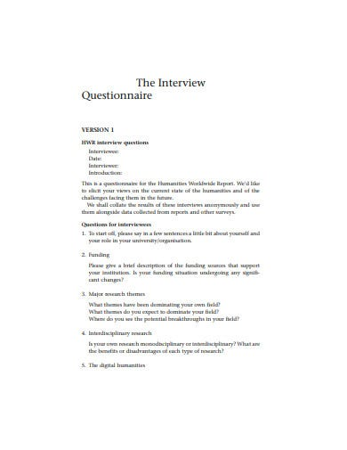interview questionnaire example