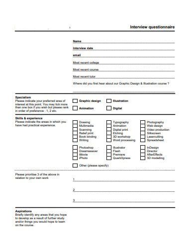 interview questionnaire format