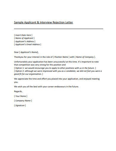 11+ Rejection Letter Templates - Google Docs, Word, Pages