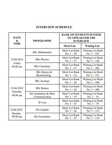interview schedule example