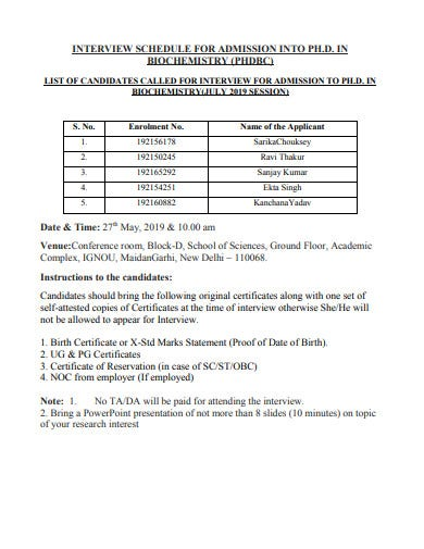 interview schedule for admission