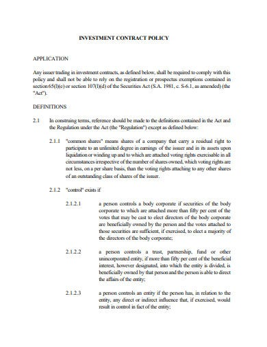 investment contract policy