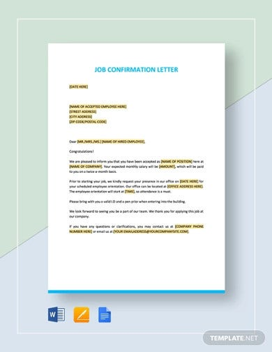 job-confirmation-letter-template