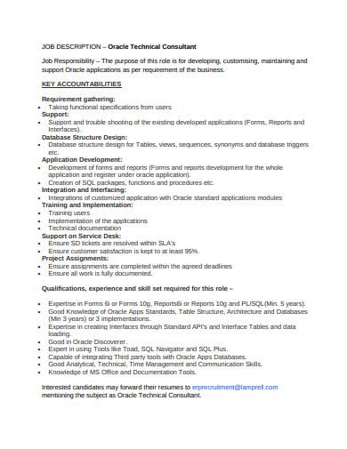 job description of technical consultant