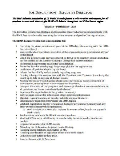 job description for executive consultant