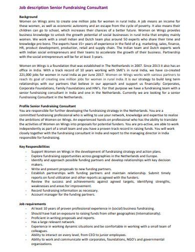 job description for fundraising consultant