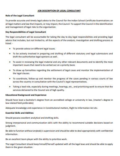 job description of legal consultant