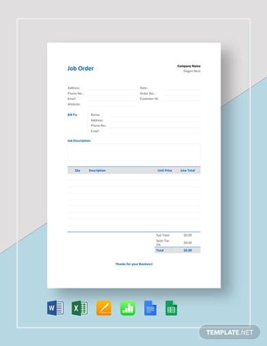 job order template