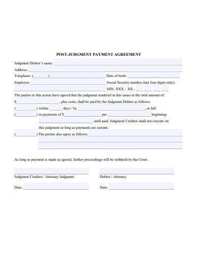 judgment payment agreement template