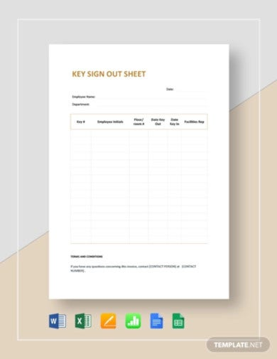 key sign out sheet template