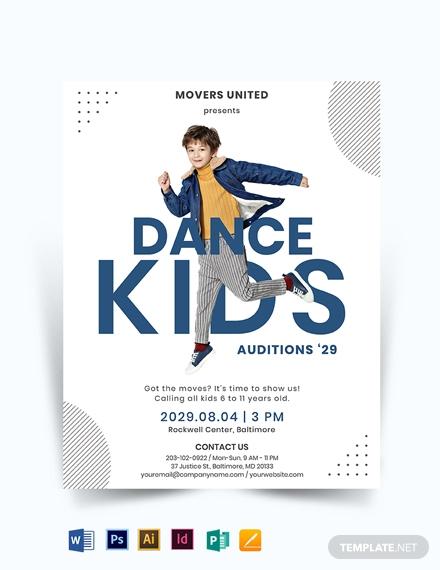 kids dance audition flyer template 440