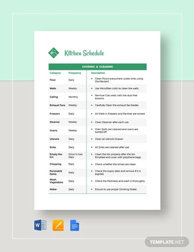 kitchen schedule template