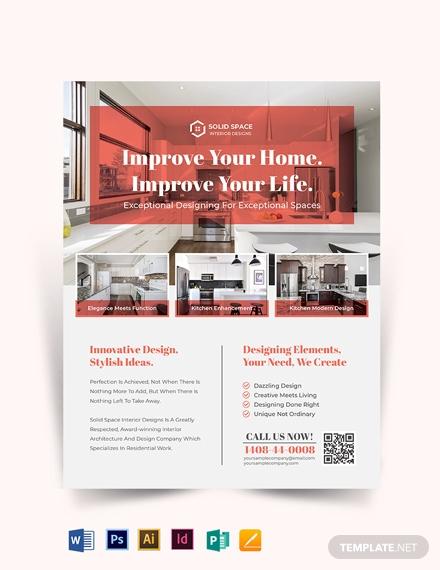 kitchen interior flyer template 440