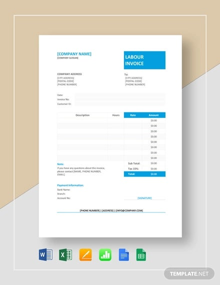 labour invoice format template