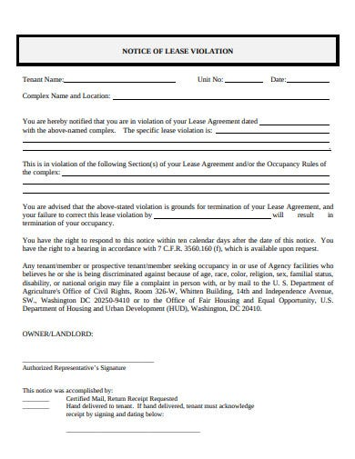landlord notice of lease violation template