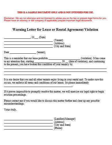 landlord warning letter template in doc