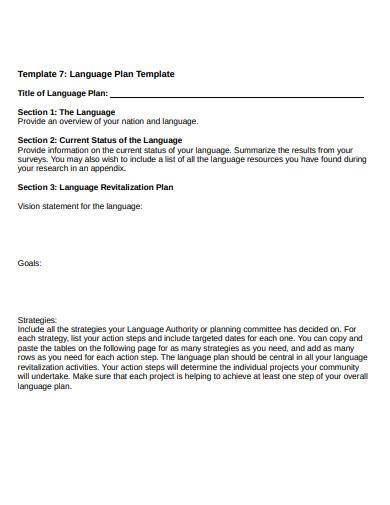 language plan template