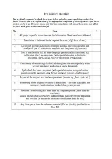 11  delivery checklist templates