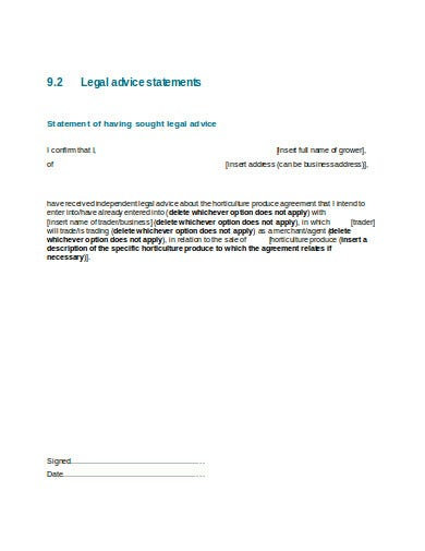 legal advice statement