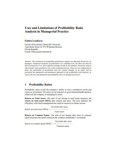 limitations of profitability analysis
