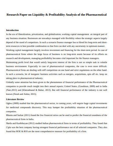 liquidity and profitability analysis example