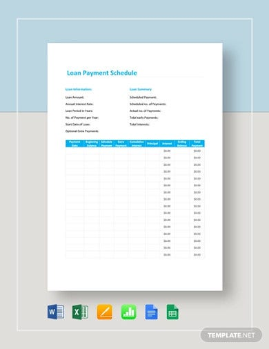 loan payment schedule templates