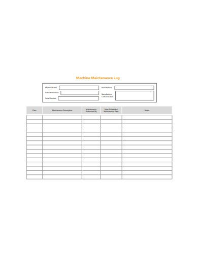 machine maintenance log template in pdf