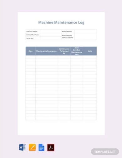 machine maintenance log template