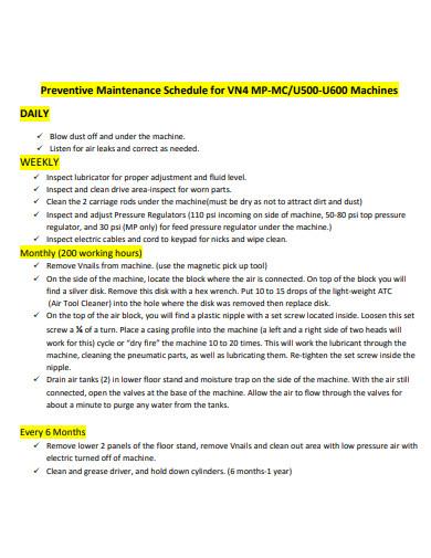 machinery preventive maintenance schedule