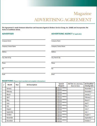 magazine advertisinng agreement template
