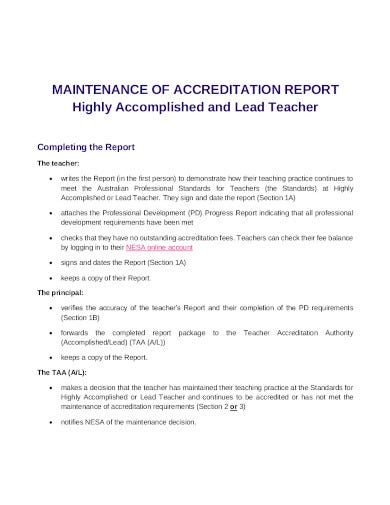 maintenance accreditation report template